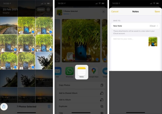 Send your media content to Notes on iPhone