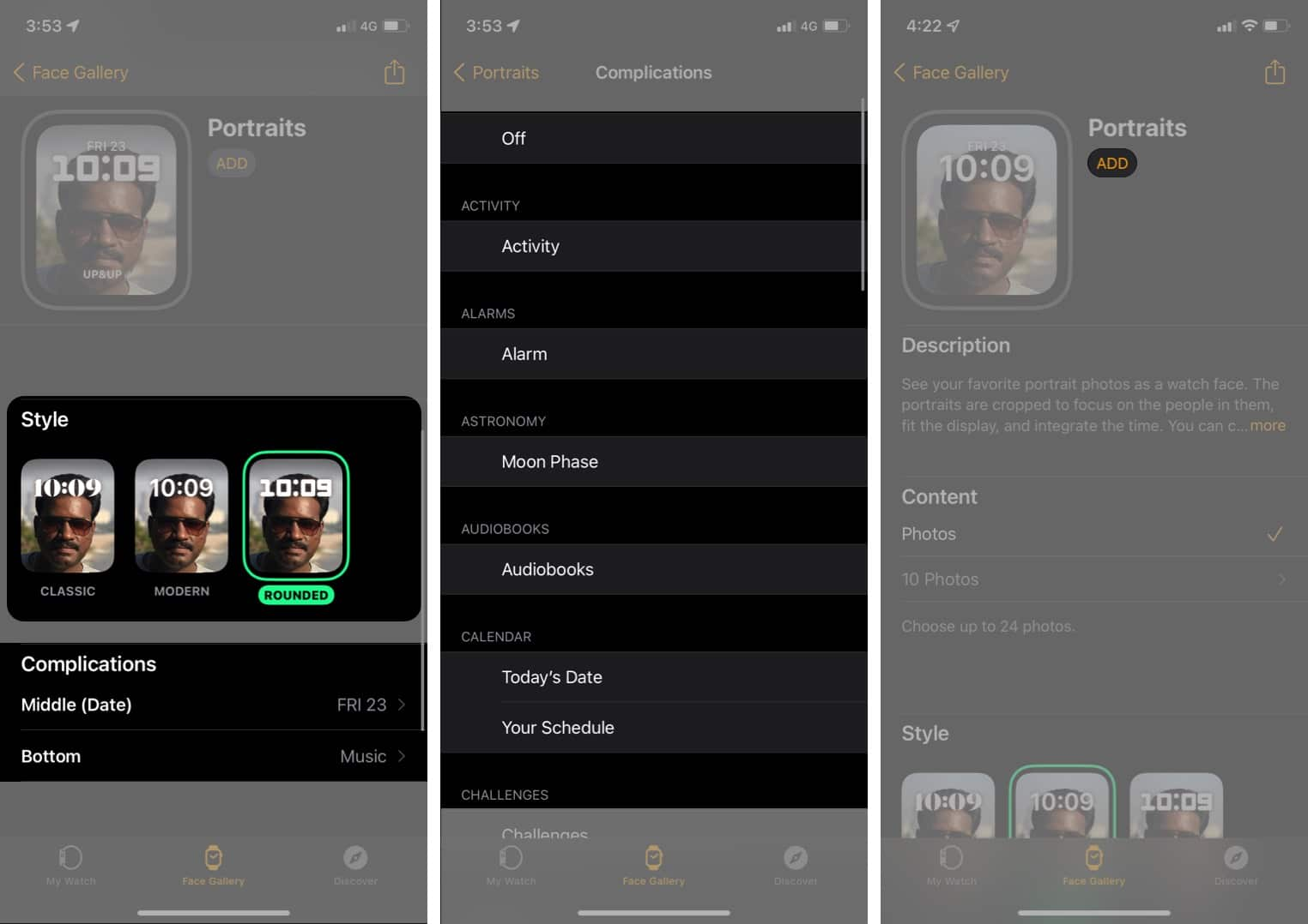 Set Portraits watch face in watchOS 8 on Apple Watch