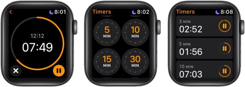 Установите несколько таймеров на Apple Watch