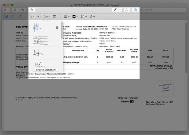 Sign documents in the mail on Mac