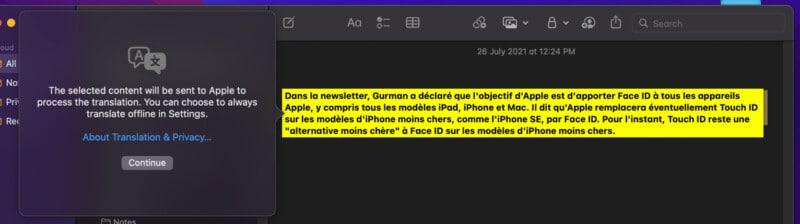 System-wide translation in macOS Monterey