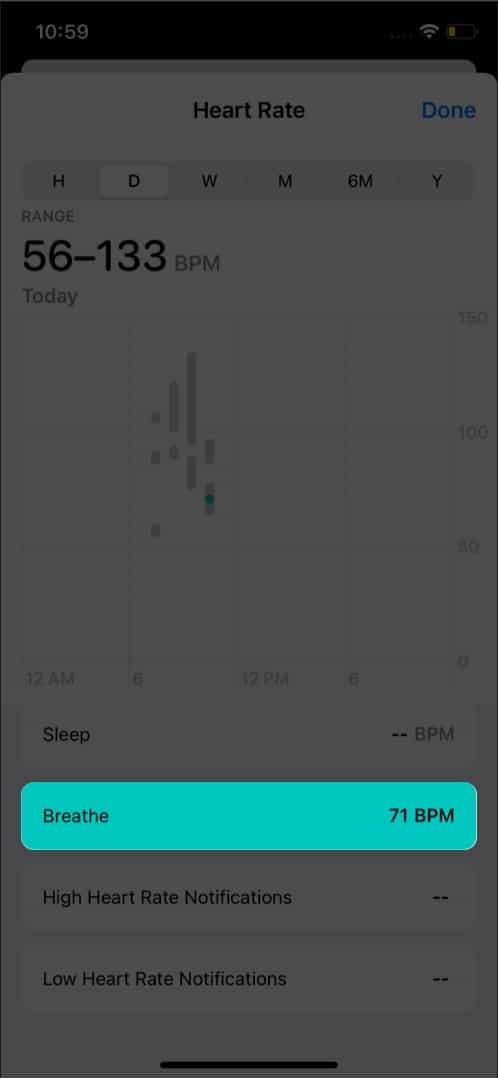 Нажмите «Дышать», чтобы увидеть частоту пульса на iPhone.