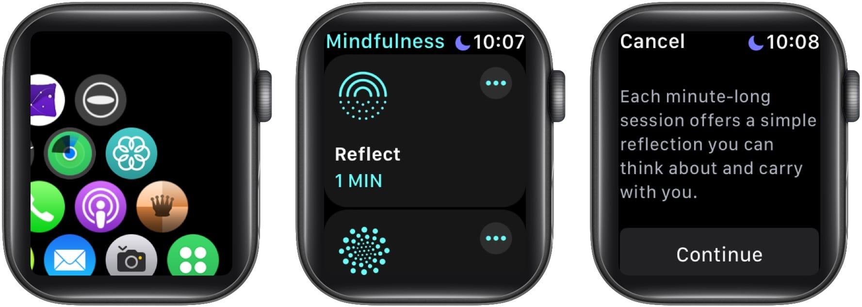 Нажмите Reflect, чтобы начать сеанс Reflect на Apple Watch.