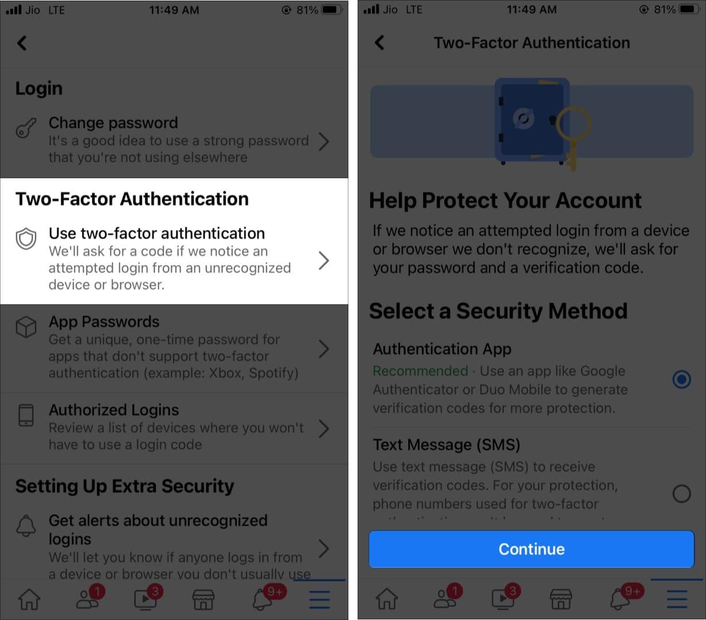 Нажмите Использовать двухфакторную аутентификацию в приложении FB на iPhone.