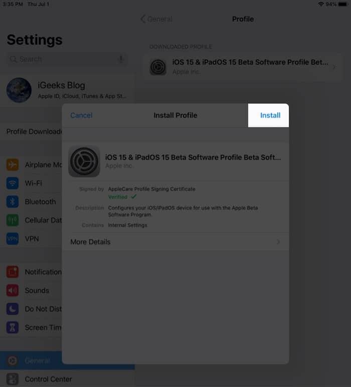 Tap on install to download iPadOS 15 public beta
