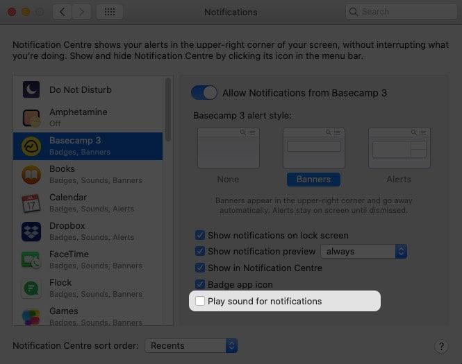 Временно отключить звук уведомлений на Mac