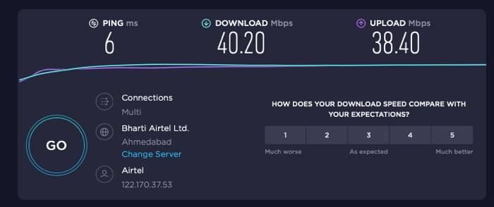 Die Internetgeschwindigkeit ohne VPN