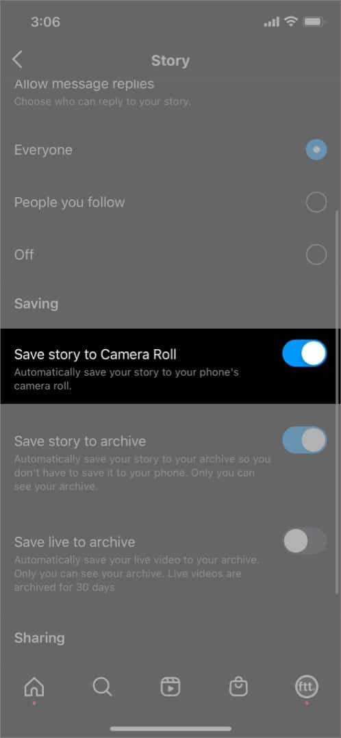 Turn on Save to Camera Roll from Instagram