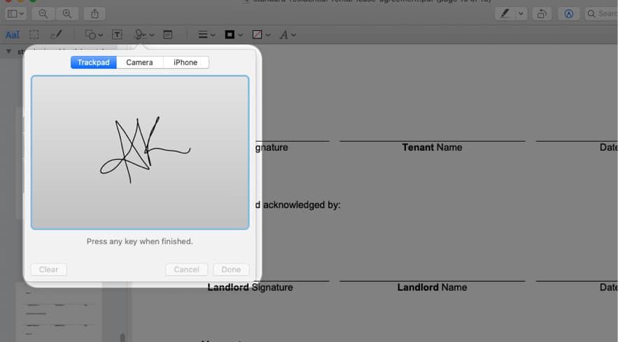 Use Trackpad to create a signature on Mac