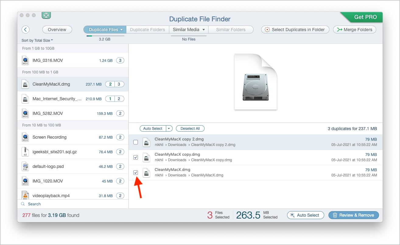 Automatically or manually select duplicates