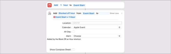 Block Off an Hour macOS Monterey shortcut