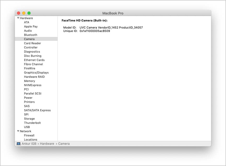 Проверьте системный отчет Mac для камеры