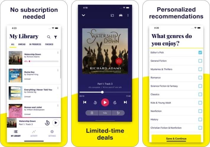 chirp audiobooks iphone ipad app screenshot