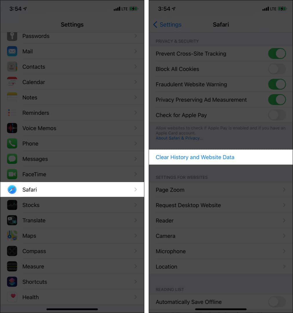 Clear Safari history and data on iPhone