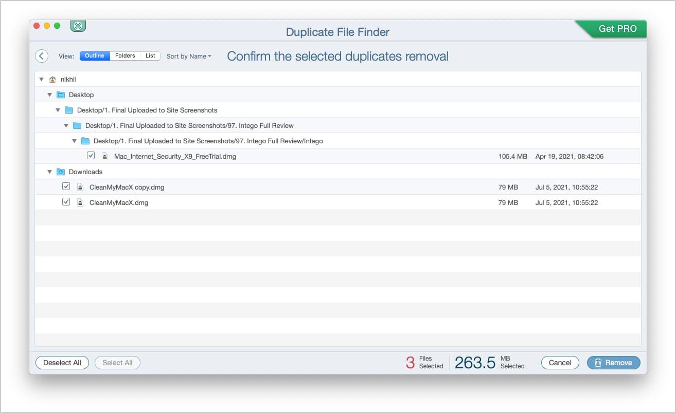 ClickRemoveto delete duplicate files on Mac