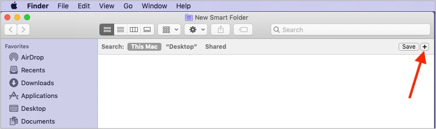 Click the tiny plus icon from Finder's top right