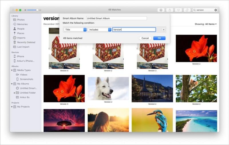Create New Smart Album in Mac Photos app