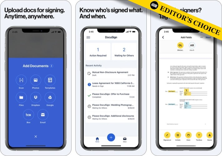 DocuSign electronic signature app for iPhone