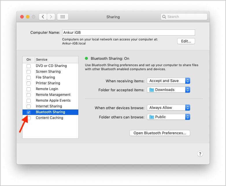 Включить общий доступ по Bluetooth на Mac