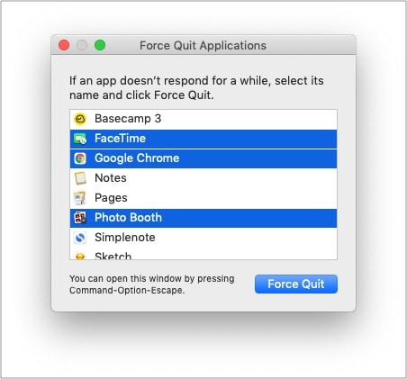 Принудительно закрыть конфликтующие приложения на Mac