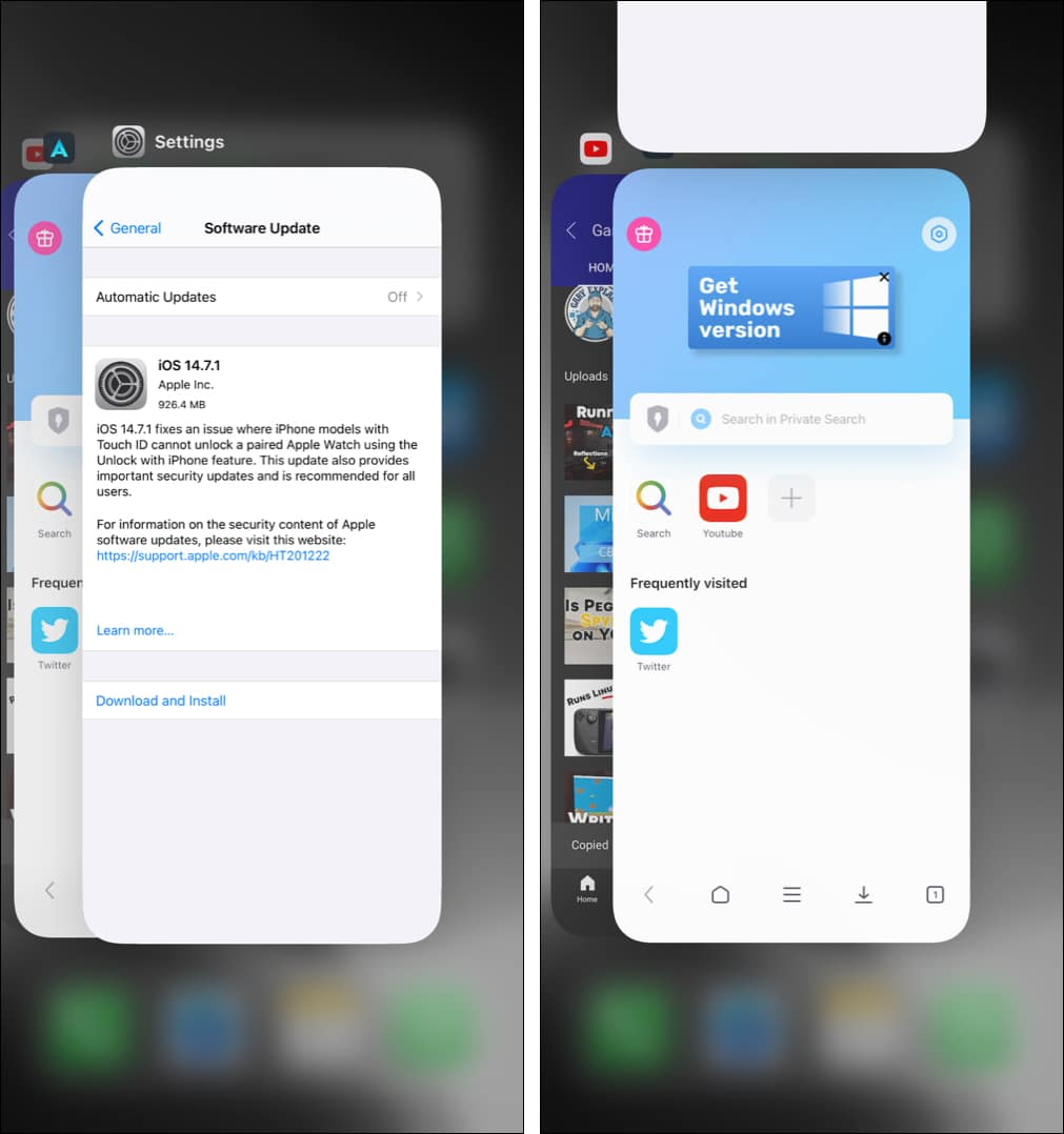 Force quit iPhone Settings app