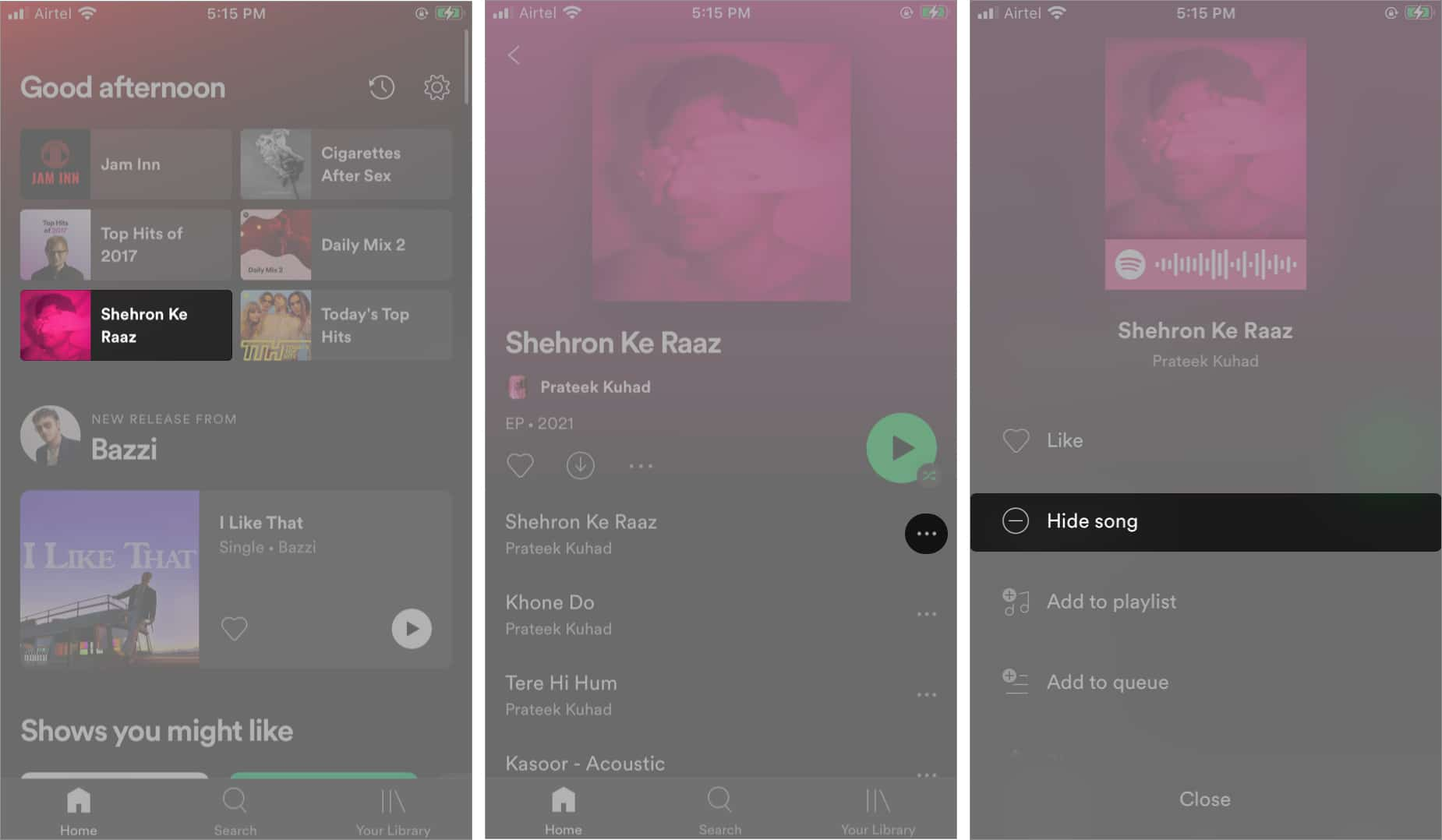 hide songs on spotify on iphone