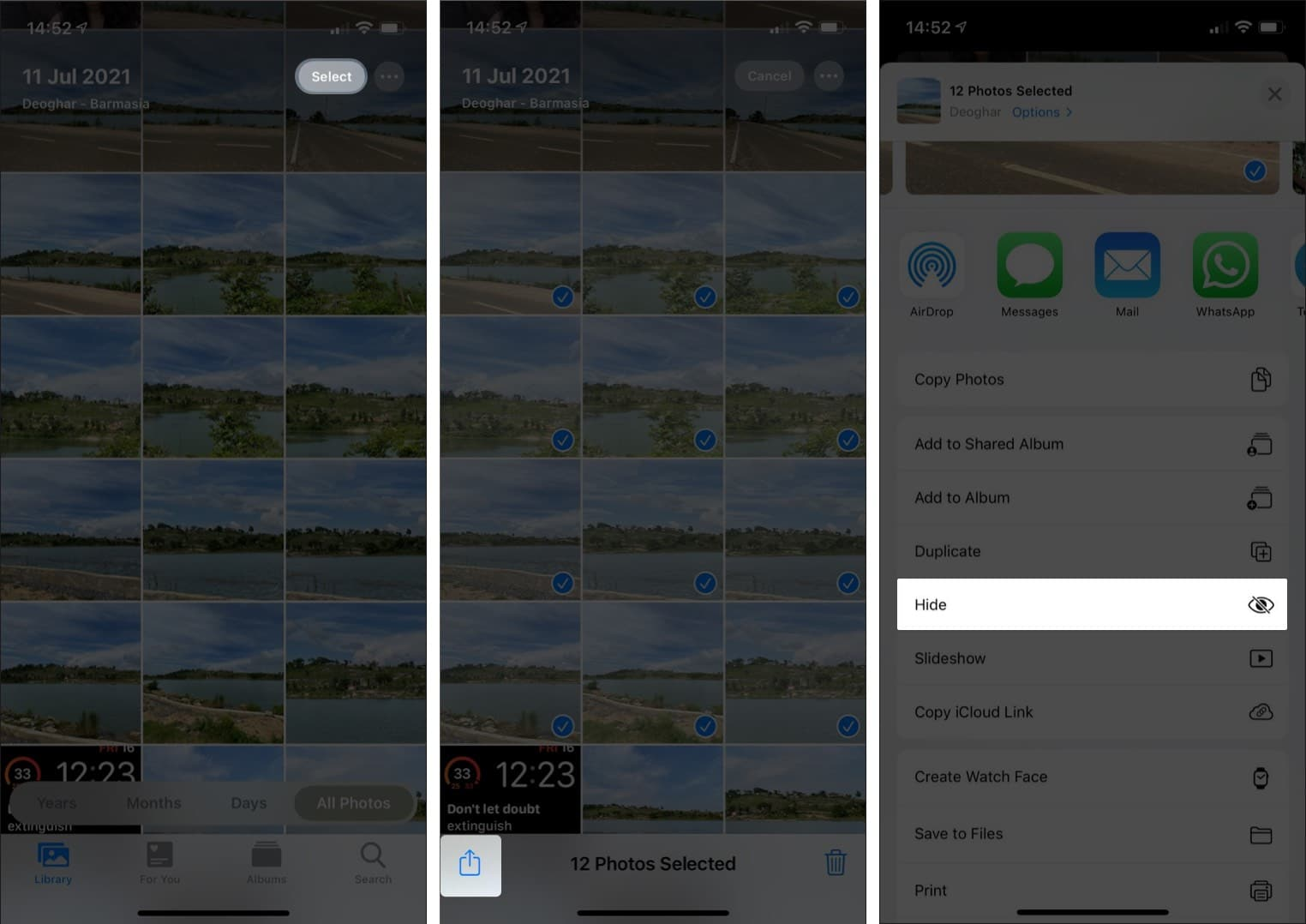 Hide your Selfies, screenshots, or other photo on iPhone