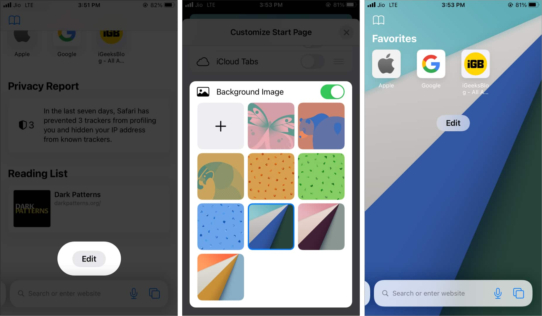 Как добавить фоновое изображение на стартовую страницу Safari в iOS 15