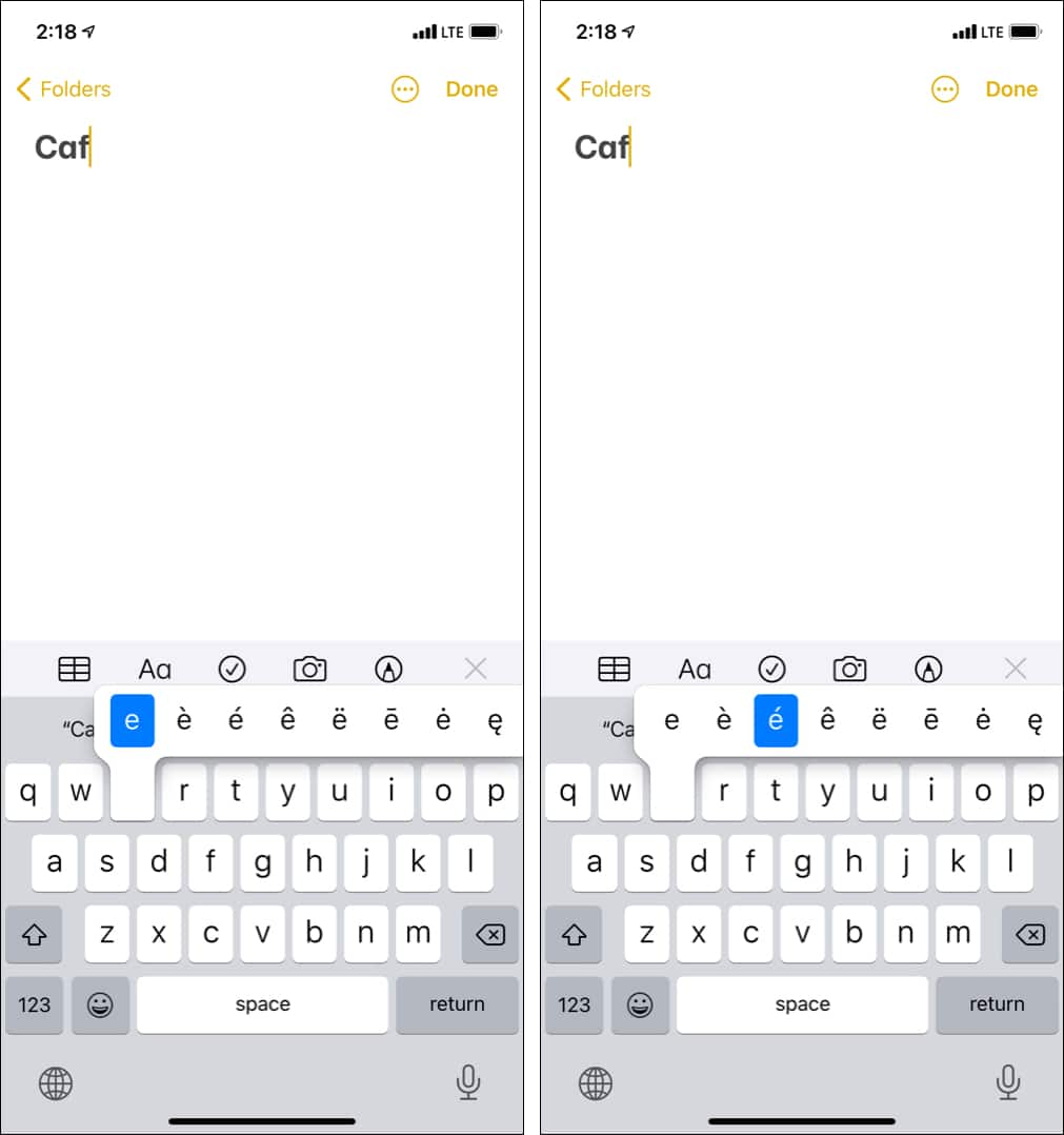 How to type accents on iPhone