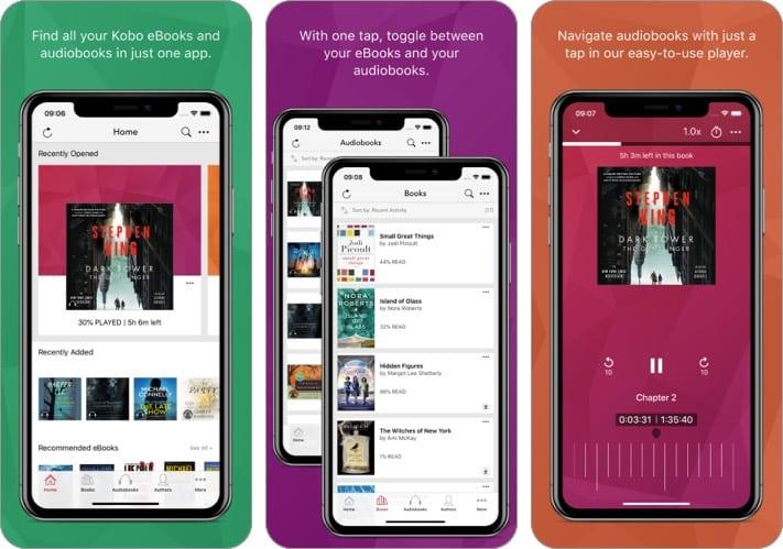 kobo audiobook iphone ipad app screenshot