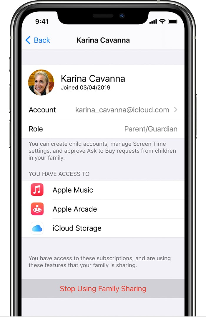 Leave Family Sharing on iPhone