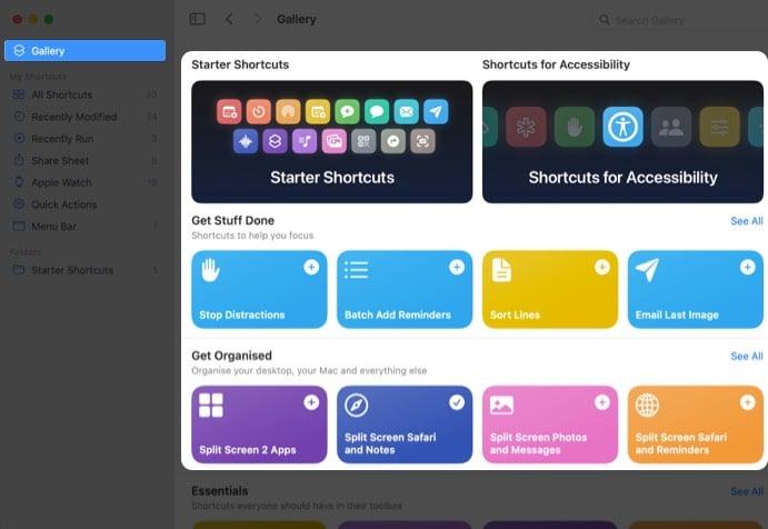 списки сокращений, доступных в macOS Monterey