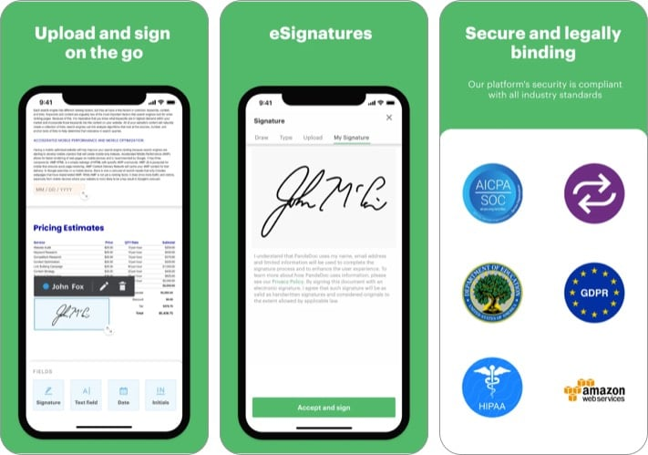 PandaDoc electronic signature app for iPhone