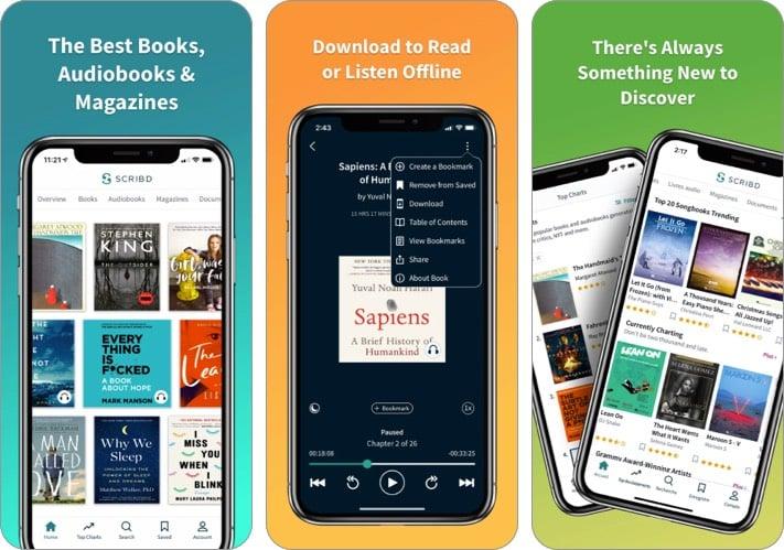 scribd audiobook iphone ipad app screenshot