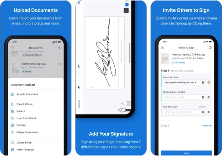 signNow electronic signature app for iPhone