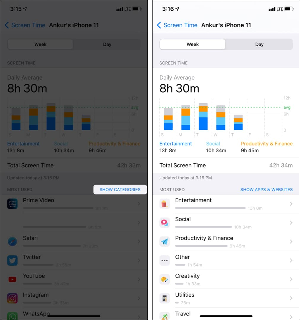Tap Show Categories to see your app usage by category