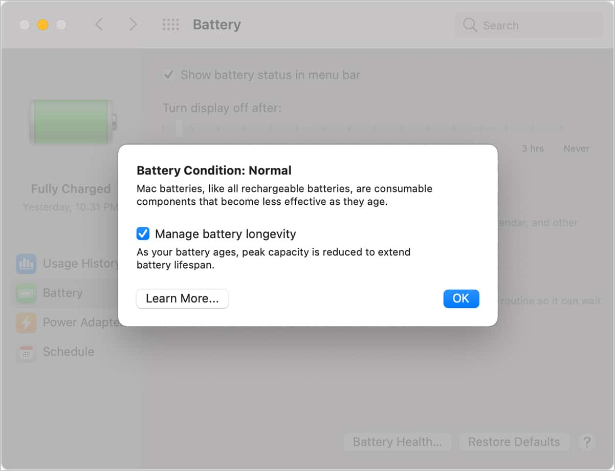 Turn off battery health management on MacBook - Step 1