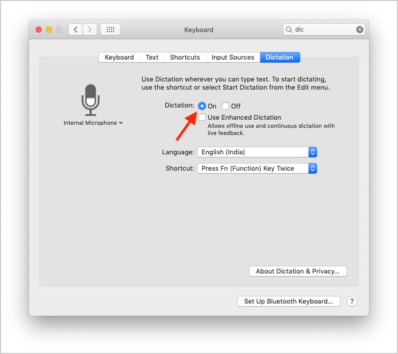 Turn on Dictation on Mac to fix Microphone issues