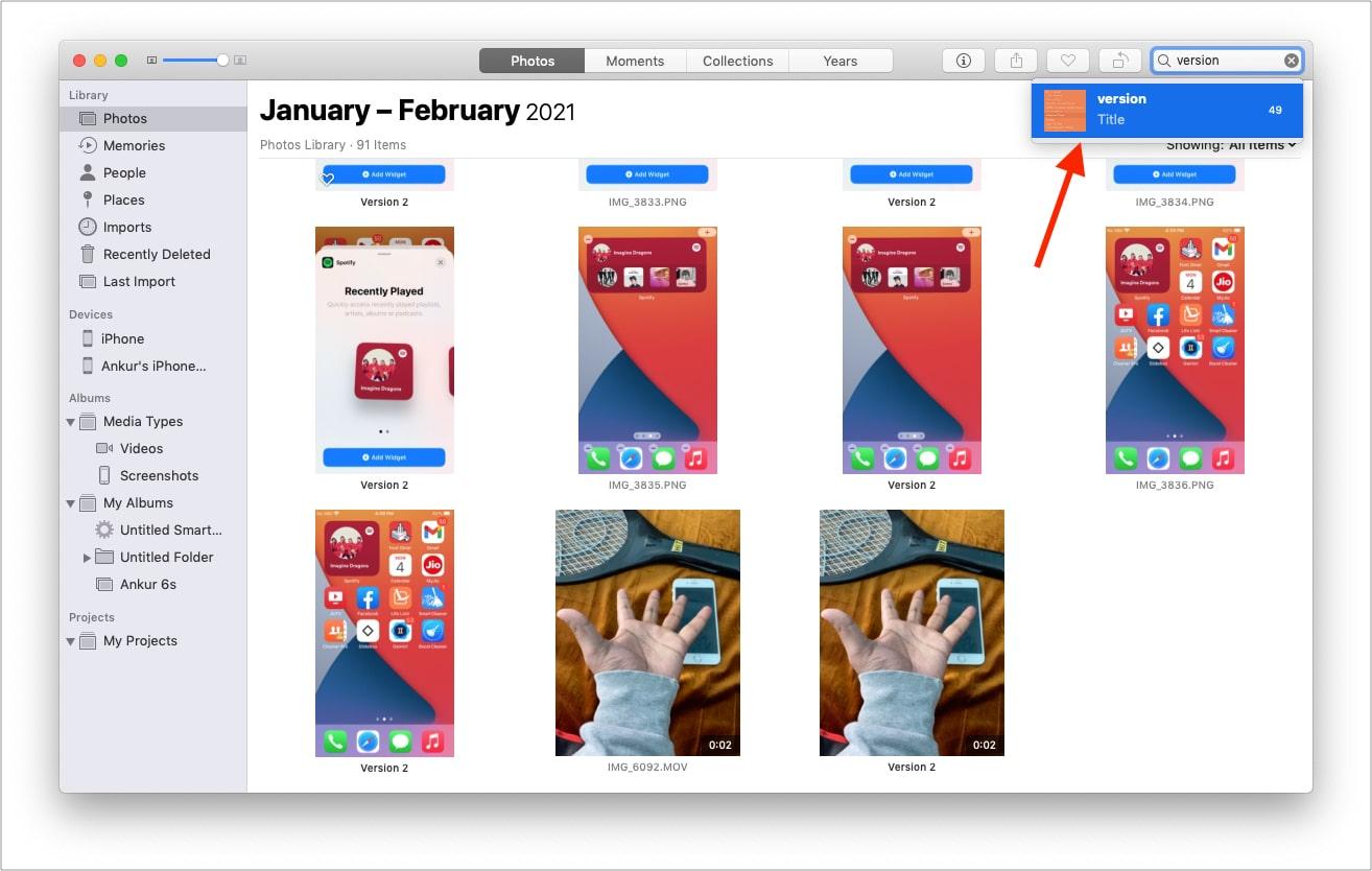 TypeVersion in Mac Photos app