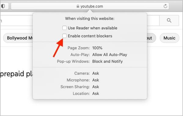Снимите флажок Включить блокировщики контента.