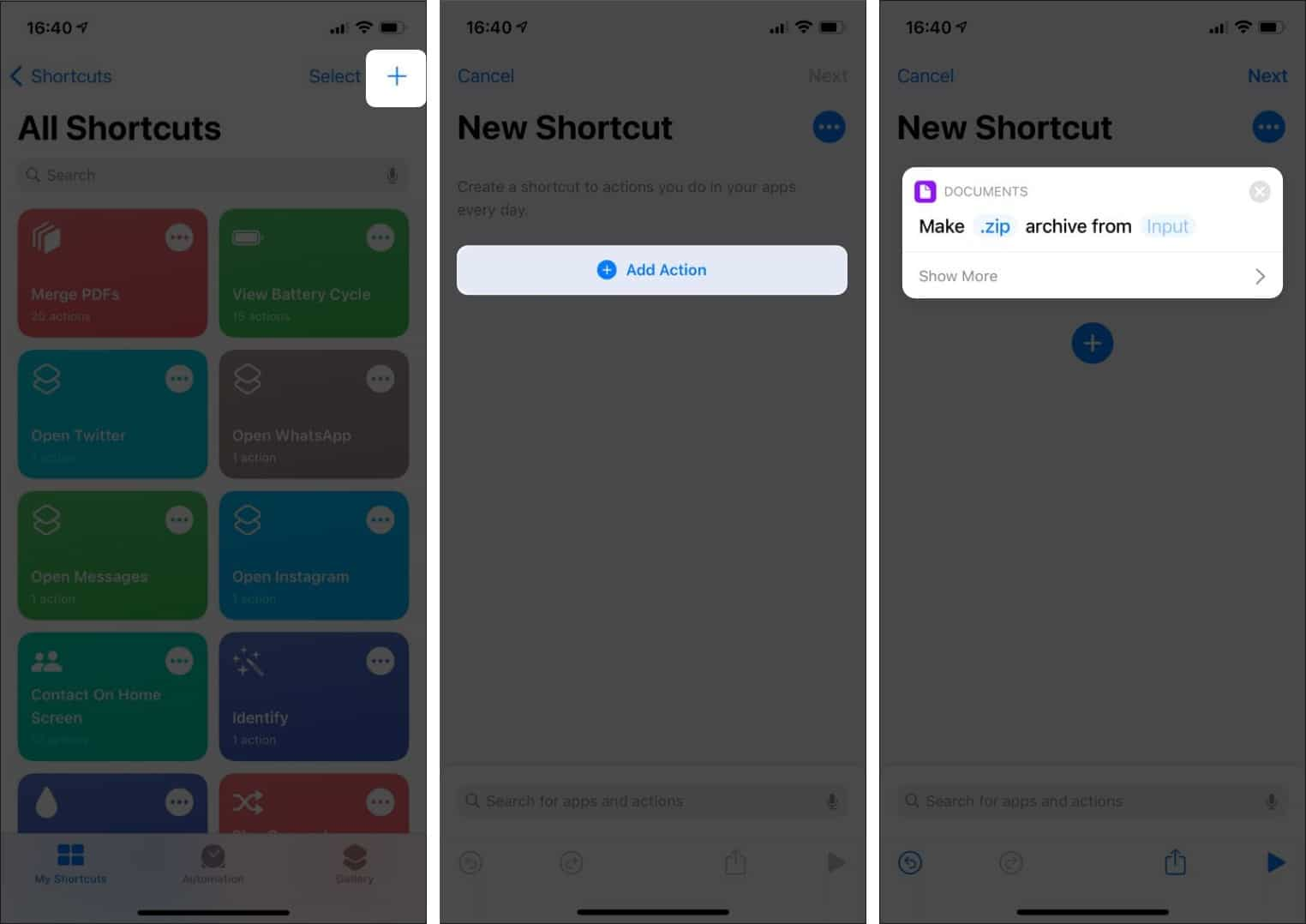 Add Action in shortcuts app on iPhone