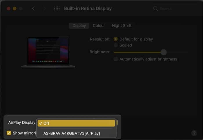 Click the AirPlay drop-down menu on Mac