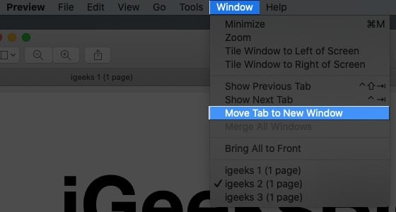 Click the Window menu and select Move Tab to New Window on Mac