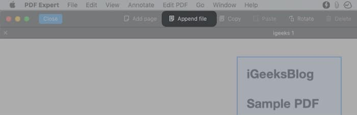 Combine two PDFS using PDF Expert