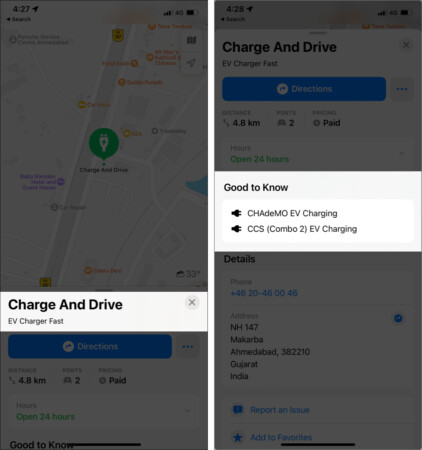 Easily locate the nearest EV charging stations in Apple Maps