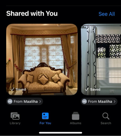 For You tab, you can see Shared with You Photos in iOS 15