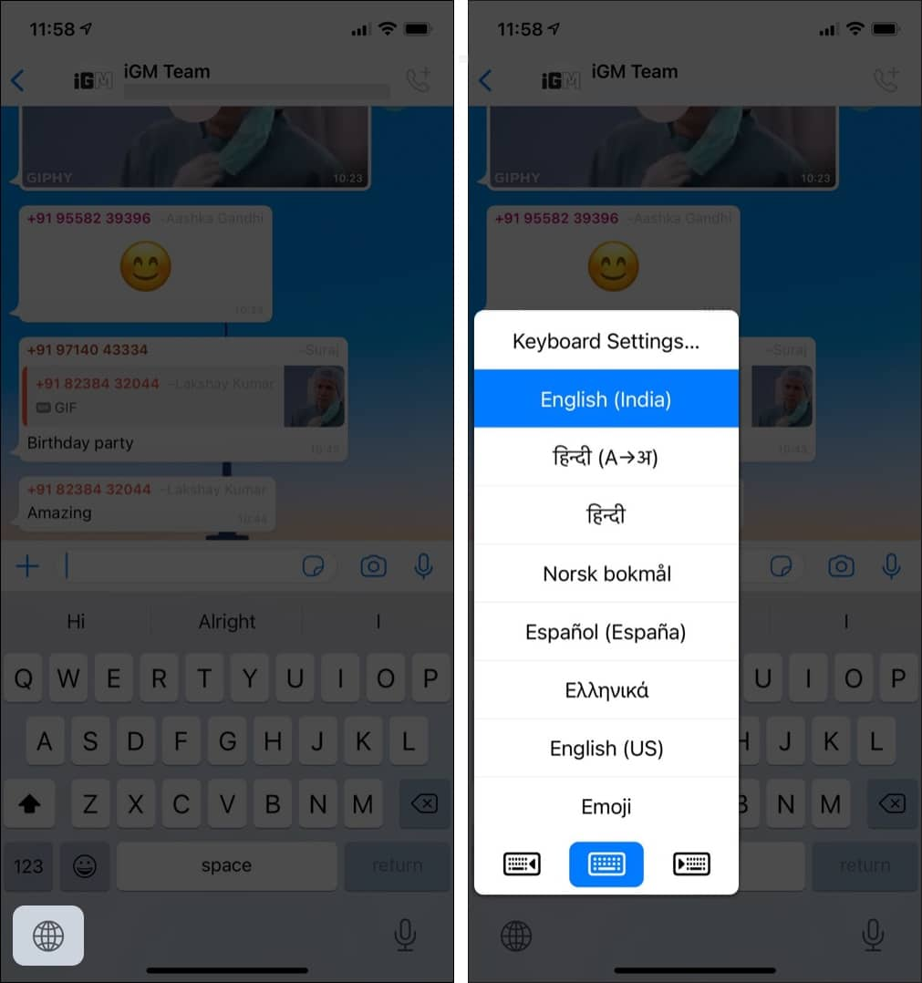 How to switch between keyboards on iPhone
