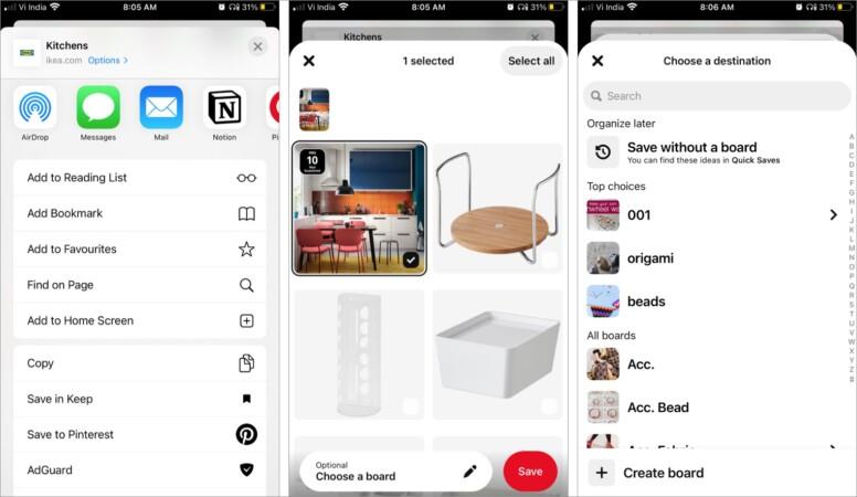 Pinterest Safari-Erweiterungen für das iPhone
