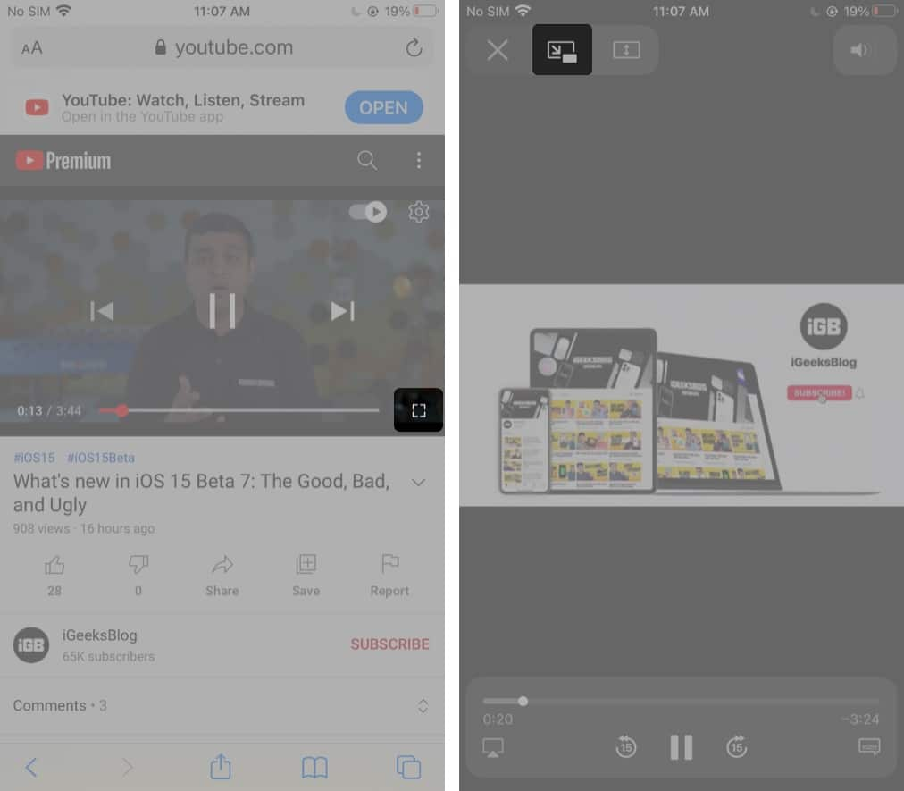 Play YouTube Picture-in-Picture in a browser on iPhone and iPad