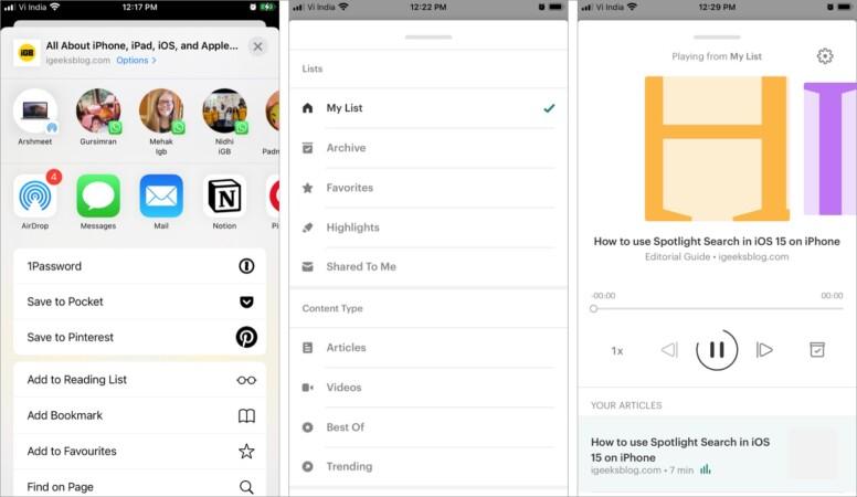 Pocket Safari-Erweiterung für iPhone und iPad